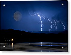 Misty Lake Full Moon Lightning Storm Fine Art Photo Acrylic Print