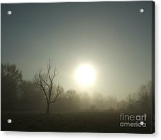 Misty Morning Blue Acrylic Print
