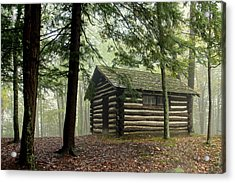 Acrylic Print featuring the photograph Misty Morning Cabin by Suzanne Stout