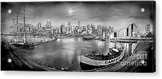 Misty Morning Harbour - Bw Acrylic Print by Az Jackson