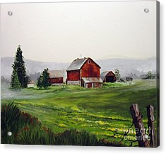 Acrylic Print featuring the painting Misty Morning In Apulia by Carol Hart