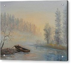 Acrylic Print featuring the painting Misty Morning by Katalin Luczay