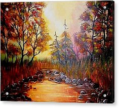 Acrylic Print featuring the painting Misty Morning Marsh by The GYPSY And DEBBIE