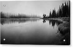 Misty Morning On Reflection Lake Acrylic Print by Brian Xavier
