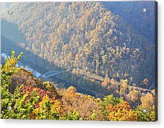 Misty Morning View Of The New River Gorge Old County Road 82 Bri Acrylic Print