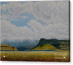 Misty Mountain Acrylic Print by Caroline Street
