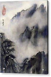 Misty Mountain In Blue Acrylic Print