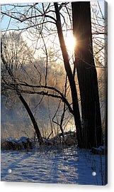 Misty River Sunrise Acrylic Print by Hanne Lore Koehler