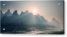 Acrylic Print featuring the photograph Misty Sunrise 4 by Afrison Ma