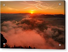 Misty Sunrise On The Lilienstein Acrylic Print