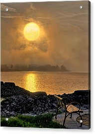 Misty Sunset At The Bay Acrylic Print