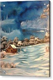 Misty Winter Acrylic Print by Nick