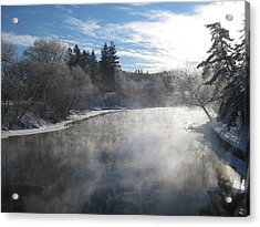 Misty Winter River Acrylic Print by Carolyn Reinhart