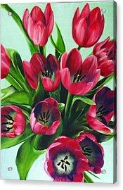 Mistys Tulips Acrylic Print by Sherry Robinson