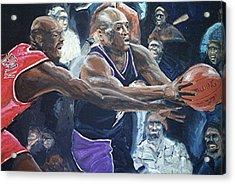 Mitch Richmond And Michael Jordan Acrylic Print by Paul Guyer