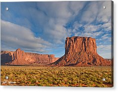 Acrylic Print featuring the photograph Mitchell Butte And Gray Whiskers In The Evening Light by Jeff Goulden