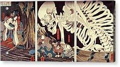 Mitsukini Defying The Skeleton Spectre, C.1845 Hand Coloured Woodcut Print Acrylic Print