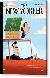 Mitt Romney Driving With Rick Santorum In A Dog Acrylic Print