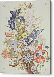 Mixed Flowers In A Cornucopia Acrylic Print by Thomas Robins