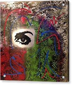 Mixed Media Abstract Post Modern Art By Alfredo Garcia Eye See You 2 Acrylic Print
