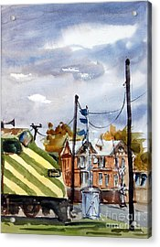Mkt Train And Travellers Hotel Denison Tx Acrylic Print by Ron Stephens