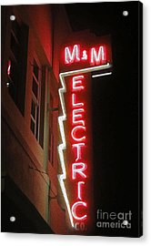 Mm Electric Sign At Night Acrylic Print by Gregory Dyer