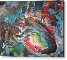 Mobie Joe The Whale-original Abstract Whale Painting Acrylic Blue Red Green Acrylic Print by Seon-Jeong Kim
