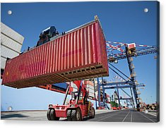 Mobile Crane Moving Cargo Container At Acrylic Print