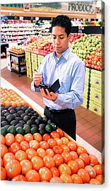 Mobile Phone Nutrition Application Acrylic Print by Stephen Ausmus/us Department Of Agriculture