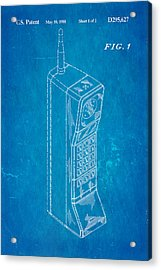 Mobile Phone Patent Art 1988 Blueprint Acrylic Print by Ian Monk