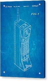 Mobile Phone Patent Art 1988 Blueprint Acrylic Print