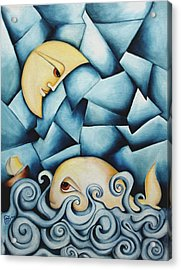 Moby Dick The Daughter Of The Moon  Acrylic Print by Simona  Mereu