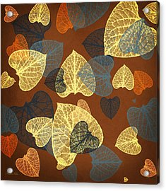 Mocha Abstract Leaves Square Acrylic Print
