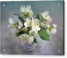 Sweet Mock Orange Blossom Bouquet With Bumble Bee  Acrylic Print