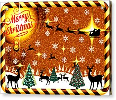 Mod Cards - Reindeer Games - Merry Christmas V Acrylic Print by Aurelio Zucco