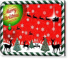 Mod Cards - Reindeer Games - Merry Christmas Acrylic Print by Aurelio Zucco