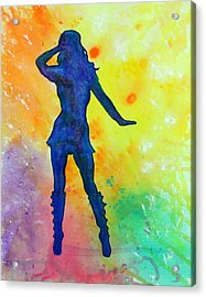 Mod Girl Female Silhouette Abstract Acrylic Print