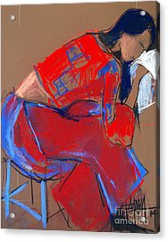 Model #3 - Woman Wiping Her Face - Figure Series Acrylic Print by Mona Edulesco