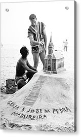 Model By Sand Sculpture Acrylic Print by Richard Waite
