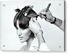 Model Getting Hair Put In Curlers Acrylic Print