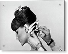 Model Getting Her Hair Curled Acrylic Print