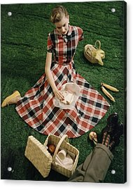Model In Gingham Dress Sitting On A Staged Lawn Acrylic Print