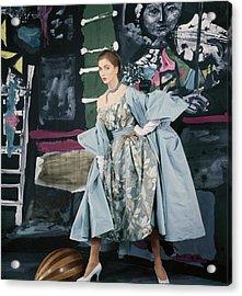 Model In Paper Taffeta Dress Acrylic Print by Henry Clarke