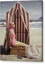 Model In Pink Swimsuit With Tent On Beach Acrylic Print by Louise Dahl-Wolfe