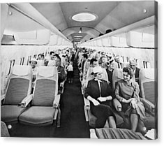 Model Of Boeing 707 Cabin Acrylic Print by Underwood Archives