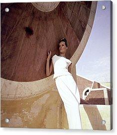 Model Veruschka Wearing A Two-piece Dress Acrylic Print
