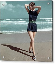 Model Wearing A Blue Swimsuit On A Beach Acrylic Print