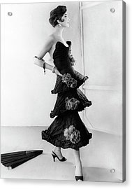 Model Wearing A Chanel Dress Acrylic Print