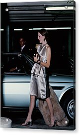Model Wearing A Chester Now Ensemble By A Car Acrylic Print