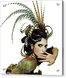 Model Wearing A Feather Headdress Acrylic Print